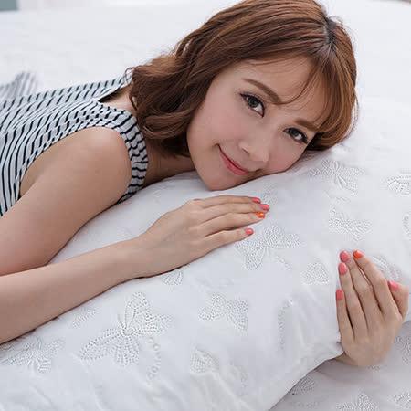 J-bedtime【蝶舞飛揚】加大絕美壓紋X防汙防塵床包式保潔墊(白蝶)