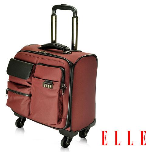 ELLE 火紅優雅登機箱 皮革 IPAD13吋筆電 拉桿登機箱~酒紅EL84288A~80