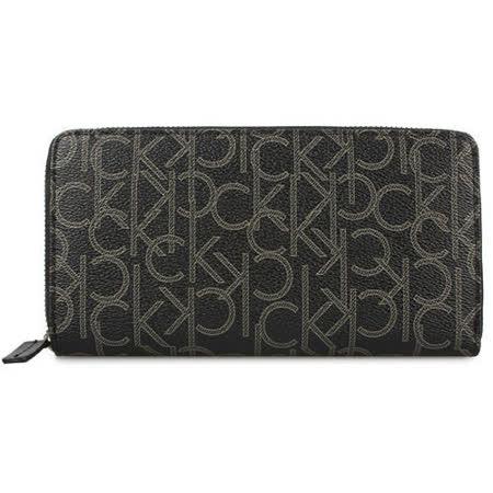 Calvin Klein CK新款滿版LOGO圖紋多卡拉鍊長夾-黑色