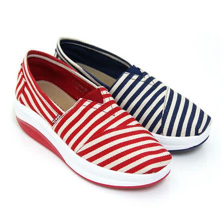 SNAIL蝸牛 海軍風線條帆布輕量厚底搖搖鞋(女鞋)