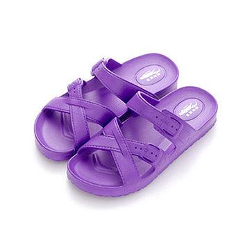母子鱷魚 輕量氣墊拖女款N32-紫色(23~25cm)