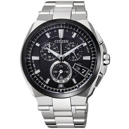 CITIZEN 光動武俠鈦金屬電波時計腕錶-黑