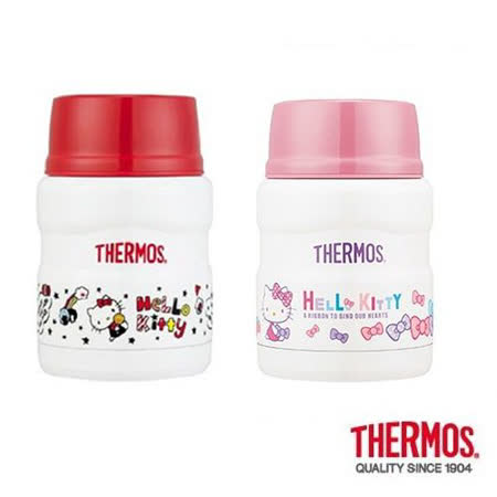 THERMOS膳魔師 不鏽鋼真空保溫食物罐0.47L 2入組(SK3000KT-RB+SK3000KT-WH)