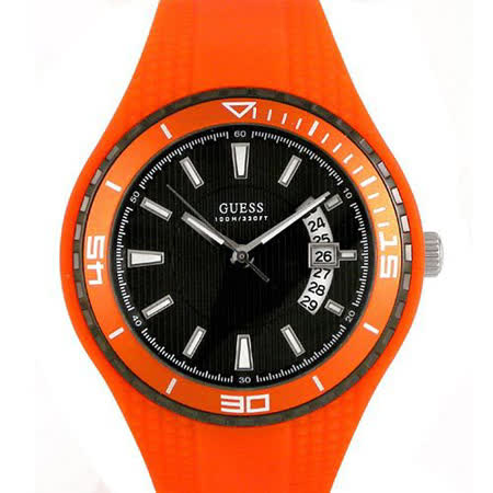 GUESS 橘色時尚運動腕錶