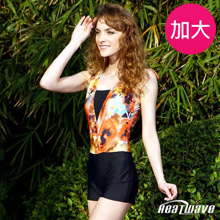 【Heatwave熱浪】黑橘迷彩 加大萊克平口連身泳衣-81724