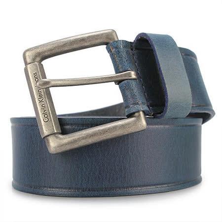 Calvin Klein CK 新款寬版穿式皮帶-藍色