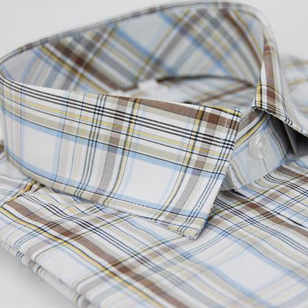 【金安德森】棕藍白格紋窄版短袖襯衫