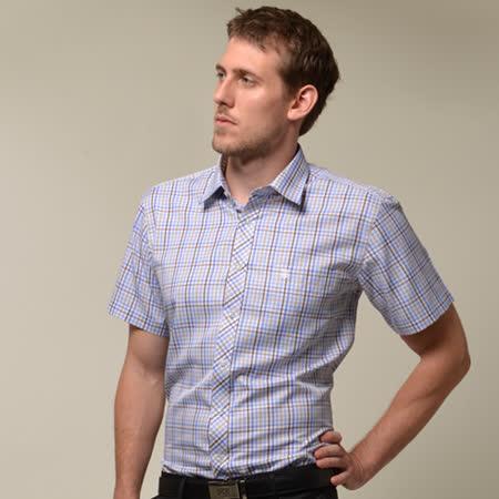 【金安德森】棕藍格紋窄版短袖襯衫