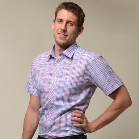 【金安德森】粉藍格紋窄版短袖襯衫
