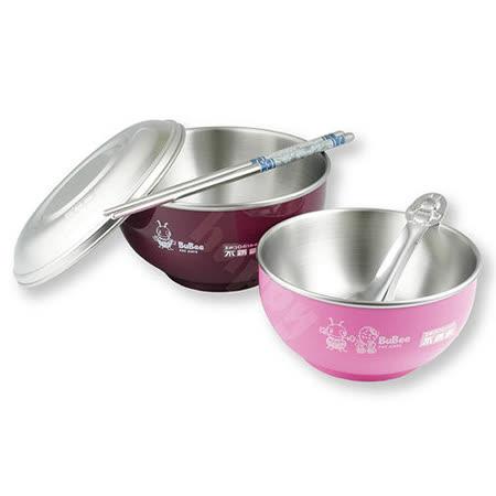 小蟻布比國中小學便當盒四件組隔熱碗14cm+兒童碗+湯匙+筷子