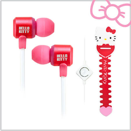 Hello Kitty經典造型線控耳機 (KT-EM12)--絢麗紅(KT-EM12R)