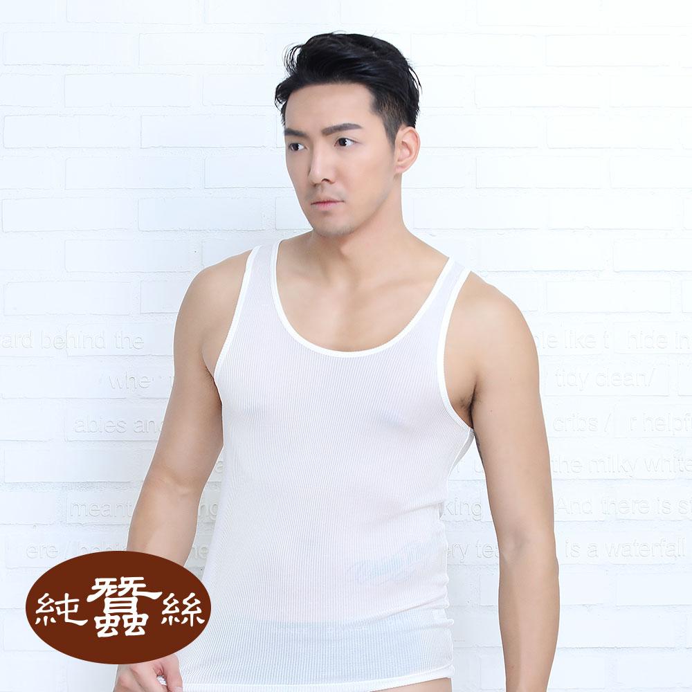 岱妮蠶絲 ~ ^(DO1034M^)男純蠶絲羅紋背心 ^(白色101A^)