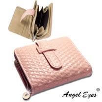 【AngelEyes】內外全真皮雙格收納零錢袋5卡位編織紋插皮女短夾(粉 BW-0512-3)