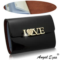 【AngelEyes 嚴選真皮】LOVE漆皮亮面12卡位小牛皮信用卡夾真皮整片看得到摸得到(2色 BW-0447-6)