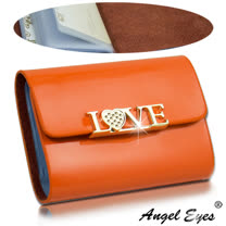 【AngelEyes 嚴選真皮】LOVE漆皮亮面12卡位小牛皮信用卡夾真皮整片看得到摸得到(橙 BW-0447-6)
