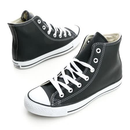 CONVERSE(男/女)Chuck Taylor 皮革帆布鞋(高統)-黑-1S581