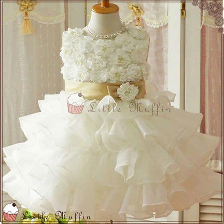 (購物車)歐系優雅多層次立體花朵小禮服/畢業白洋裝/花童禮服
