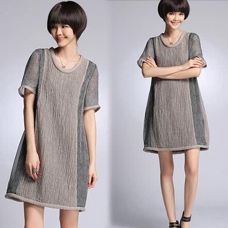 《韓國K.W.》法式優雅壓折寬版長上衣洋裝