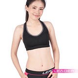 Leader 女性專用 機能壓縮可拆胸墊運動背心 (純黑色)