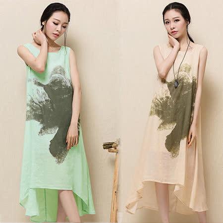 《韓國K.W.》尼泊爾花長背心洋裝
