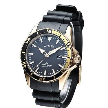 CITIZEN Eco-Drive 200米潛水運動錶 (金色錶殼)