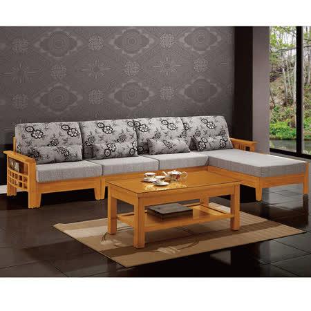 【品味居】米可達L型亞麻布木椅沙發組(左右向可選)