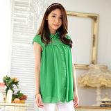 【KVOLL大尺碼】綠色蕾絲寬鬆珍珠扣雪紡衫