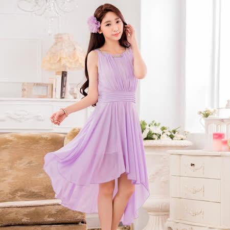 【白色戀人中大尺碼】紫色鑽鍊圓領燕尾雪紡小禮服