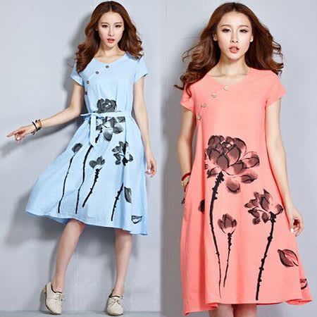 《韓國K.W.》清新素雅蓮花側排扣洋裝