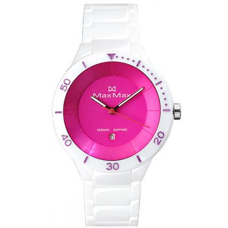 Max Max 漾彩繽紛時尚陶瓷腕錶-桃紅x白