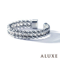 A-LUXE 亞立詩鑽石 經典百搭 18K白金雙環圓珠女戒-活動式