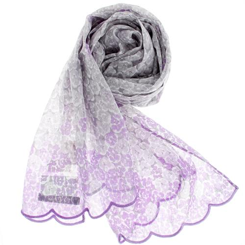 YSL 法式碎花漸層薄棉抗UV圍巾-粉紫