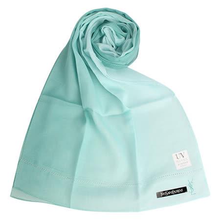 YSL 優雅素面漸層薄棉抗UV圍巾-湖水綠