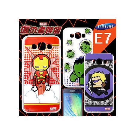 漫威 MARVEL 授權正版 復仇者聯盟 三星 Samsung Galaxy E7 Q版透明軟式保護套 手機殼(英雄款)