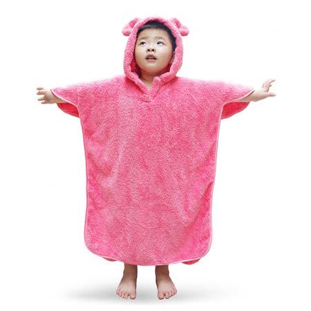 雪花絨-兒童連帽浴巾/潤粉色