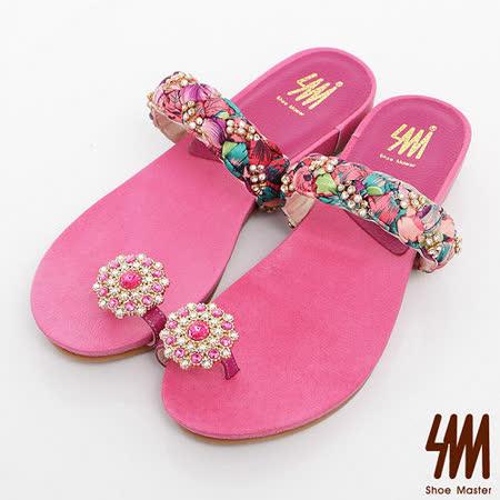 SM-臺灣製-水鑽腳戒夏威夷感印花布編織涼鞋-桃紅