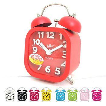 無敵王 糖果色立體數字雙鈴方型鬧鐘SV-1325 黑.白.紅.綠.粉藍.粉紅.黃.桃紅