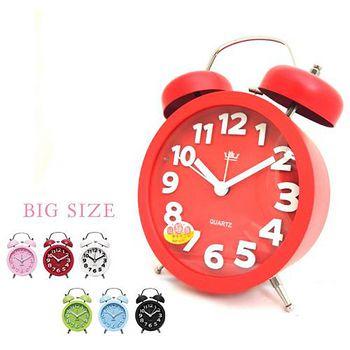 無敵王 糖果色立體數字雙鈴圓型鬧鐘SV-1329 黑.白.紅.綠.粉藍.粉紅