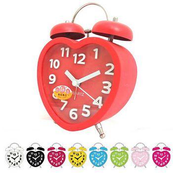 無敵王 糖果色立體數字雙鈴心型鬧鐘SV-1328 黑.白.紅.綠.粉藍.粉紅.黃.桃紅