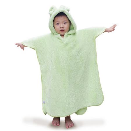 雪花絨-兒童連帽浴巾/蘋果綠