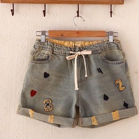 【MIDORI╭。綠】樸克牌刺繡磨口反折復古牛仔短褲FD272