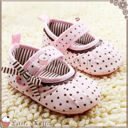 小公主水玉蝴蝶結娃娃鞋 止滑膠底學步鞋 可外出 SMI373