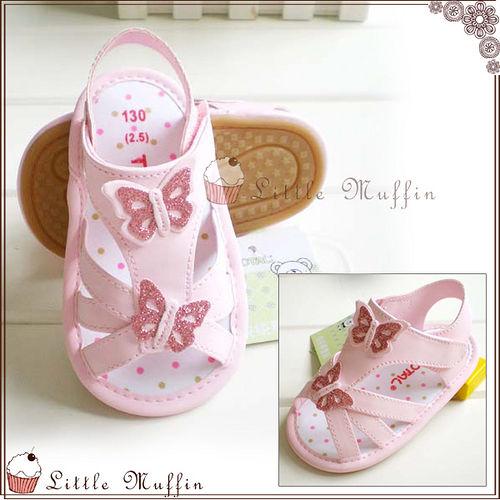 學步鞋 粉紅璀璨蝴蝶皮質魔鬼氈 止滑膠底外出涼鞋