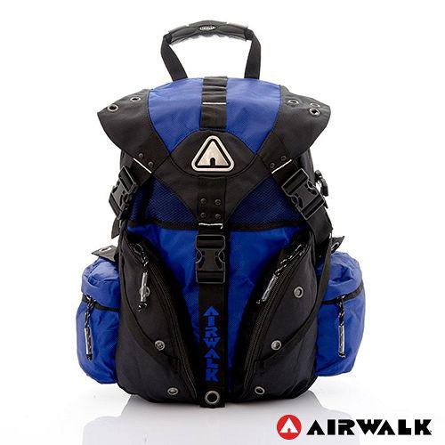 AIRWALK ~ 鐵金鋼 雙色重裝備感三叉釦後背包 ~ 黑藍