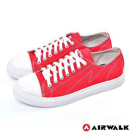 AIRWALK(男) - 復古圓頭低筒基本款帆布鞋 - 嗆人紅