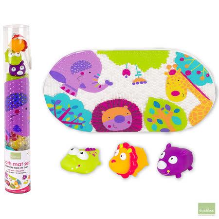 加拿大 Kushies 洗澡噴水玩具組+附防滑墊 (叢林)