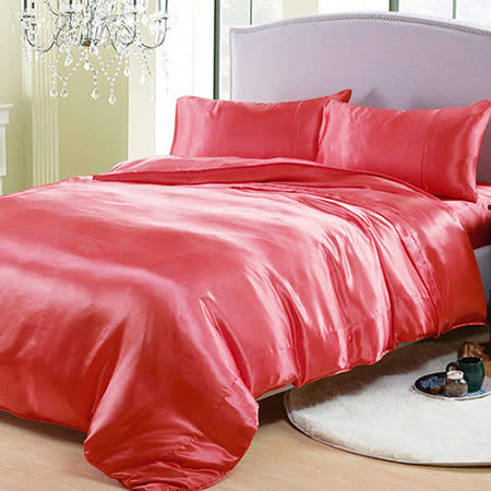 (任選)RODERLY 甜蜜紅 絲緞 雙人四件式被套床包組