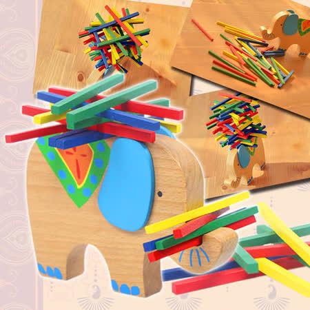 【funKids】木製-兒童櫸木可愛小象疊疊樂桌游