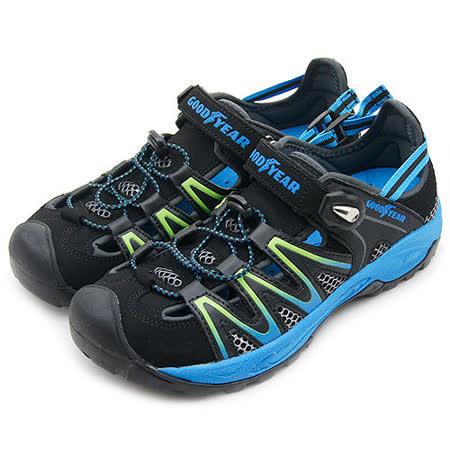 【GOOD YEAR】 專業運動護趾涼鞋 黑藍綠 53956 男
