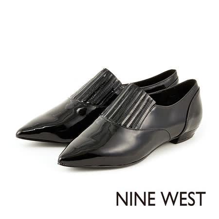 NINE WEST-- 時尚典藏 漆皮尖頭低跟鞋 -鉛灰色